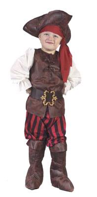Infant Boy Pee Wee Pirate Halloween Costume Whtie Shirt Red Vest Skul Head Piece