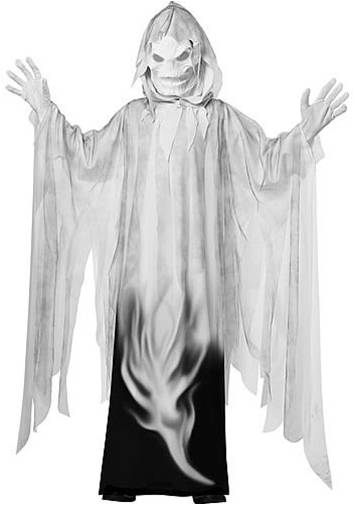 MIDNIGHT SPIRIT GHOUL GHOST GAUZE ZOMBIE KIDS CHILD HALLOWEEN COSTUME WHITE WIG